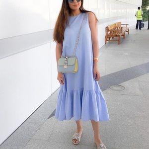 NWT Zara Trafaluc light blue denim ruffle dress M